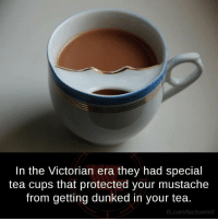 Victorian Era: In the Victorian era they had special  tea cups that protected your mustache  from getting dunked in your tea.  fb.com/factsweird
