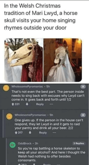 theladytrickster:  Live in Wales, can confirm: In the Welsh Christmas  tradition of Mari Lwyd, a horse  skull visits your home singing  rhymes outside your door  WholesomePyromaniac · 5h  That's not even the best part. The person inside  needs to sing back with excuses why Lwyd can't  come in. It goes back and forth until 1/2  會331  Reply  WholesomePyromaniac · 5h  One gives up. If the person in the house can't  respond, they let Lwyd in and it gets to raid  your pantry and drink all your beer. 2/2  1317  Reply  OddBrock · 3h  3 Replies  So you're rap battling a horse skeleton to  keep all your alcohol? And here I thought the  Welsh had nothing to offer besides  consonants.  Ronlu theladytrickster:  Live in Wales, can confirm