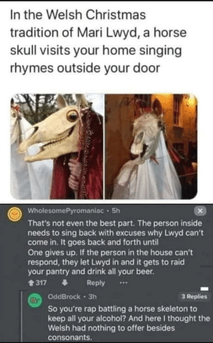 Christmas in Wales, it's an odd time of year: In the Welsh Christmas  tradition of Mari Lwyd, a horse  skull visits your home singing  rhymes outside your door  WholesomePyromaniac · 5h  That's not even the best part. The person inside  needs to sing back with excuses why Lwyd can't  come in. It goes back and forth until  One gives up. If the person in the house can't  respond, they let Lwyd in and it gets to raid  your pantry and drink all your beer.  1317  Reply  ...  OddBrock 3h  3 Replies  So you're rap battling a horse skeleton to  keep all your alcohol? And here I thought the  Welsh had nothing to offer besides  consonants. Christmas in Wales, it's an odd time of year