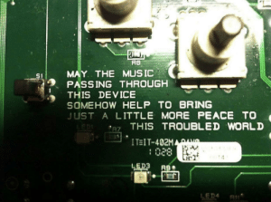 In these troubling times…found on the inside of a piece of DJ equipment: In these troubling times…found on the inside of a piece of DJ equipment