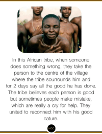 Beautiful, Good, and Help: In this African tribe, when someone  does something wrong, they take the  person to the centre of the village  where the tribe sourrounds him anc  for 2 days say all the good he has done.  The tribe believes each person is good  but sometimes people make mistake,  which are really a cry for help. They  united to reconnect him with his good  nature.  NOC So beautiful !