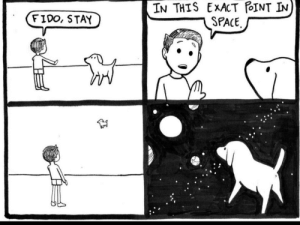 Poor Doggo: IN THIS EXACT POINT IN  SPACE  FIDO, STAY Poor Doggo