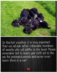Hot Weather: In this hot weather it is very important  that we all look after Mulnerable members  of society who will suffer in the heat. Please  remember not to leave your Goth out in the  sun for prolonged periods and never ever  leave them in a card  SIR