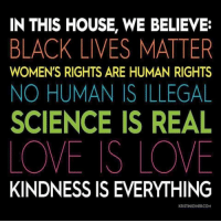 No Humanity: IN THIS HOUSE, WE BELIEVE:  BLACK LIVES MATTER  WOMEN'S RIGHTS ARE HUMAN RIGHTS  NO HUMAN IS ILLEGAL  SCIENCE IS REAL  LOVE IS LOVE  KINDNESS IS EVERYTHING  KRISTINJOINERCOM