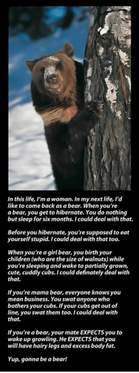 "Children, Cute, and Life: In this life, I'm a woman. In my next life, l'd  like to come back as a bear. When you're  a bear, you get to hibernate. You do nothing  but sleep for six months. I could deal with that.  Before you hibernate, you're supposed to eat  yourself stupid. I could deal with that too.  When you're a girl bear, you birth your  children (who are the size of walnuts) while  you're sleeping and wake to partially grown,  cute, cuddly cubs. I could definately deal with  that.  If you're mama bear, everyone knows you  mean business. You swat anyone who  bothers your cubs. If your cubs get out of  line, you swat them too. I could deal with  that.  If you're a bear, your mate EXPECTS you to  wake up growling. He EXPECTS that you  will have hairy legs and excess body fat.  Yup, gonna be a bear! <p><a href=""http://lolsupport.tumblr.com/post/150395388237/on-my-next-life-rotation-this-is-what-i-want"" class=""tumblr_blog"">lolsupport</a>:</p>  <blockquote><p>On my next life rotation, this is what I want…</p></blockquote>"
