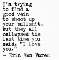 "vein: I'n trying  To 11nd a  Od Vein  o shoot u  your bullshit,  but they all  collapsed the  laSt time you  said, ""I love  you.""  - Erin Van Vuren  10"