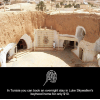 Luke Skywalker, Memes, and 🤖: in Tunisia you can book an overnight stay in Luke Skywalkers  boyhood home for only $10.