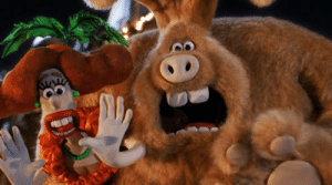 "Giant, Rabbit, and Beast: In ""Wallace & Gromit: The Curse of the Were-Rabbit"" (2005), Wallace turns into a giant rabbit beast at night. This in reference to the fact that Wallace and Grommit gave me nightmares as a child"