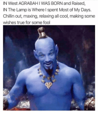 Dank, True, and Cool: IN West AGRABAHI WAS BORN and Raised,  IN The Lamp is Where l spent Most of My Days.  Chillin out, maxing, relaxing all cool, making some  wishes true for some fool The Genie we didn't deserve but the one we needed.