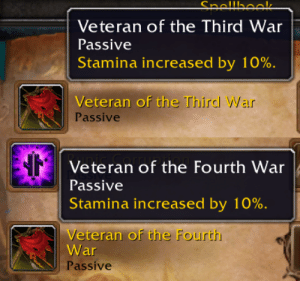 """In World of Warcraft, Death Knights created before Battle for Azeroth have a """"Veteran of the Third War"""" perk. Death Knights created now (after patch 8.3) have a new perk """"Veteran of the Fourth War"""" because canonically they died more recently, after the fall of Arthas as the Lich King.: In World of Warcraft, Death Knights created before Battle for Azeroth have a """"Veteran of the Third War"""" perk. Death Knights created now (after patch 8.3) have a new perk """"Veteran of the Fourth War"""" because canonically they died more recently, after the fall of Arthas as the Lich King."""