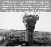Fake, Memes, and Tree: In WWI, German, French, and British forces used fake,  hollow trees to spy on their enemies' movement. To do this,  combat artists would duplicate a bombed out tree nearby,  and under the cover of darkness, engineers would uproot  the original tree and replace it with the fake one. https://t.co/UFKbWoDggG