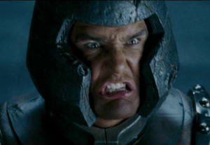 """In X-Men: The Last Stand, Ellen Page was supposed say """"Yay! I caught you Juggernaut!"""" But she kept forgetting her line and in the last take totally blanked. Vinnie Jones frustrated, shouted his character's name to her and broke out of the concrete legit. This is the take they kept in the film today.: In X-Men: The Last Stand, Ellen Page was supposed say """"Yay! I caught you Juggernaut!"""" But she kept forgetting her line and in the last take totally blanked. Vinnie Jones frustrated, shouted his character's name to her and broke out of the concrete legit. This is the take they kept in the film today."""