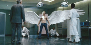 In X-Men: The Last Stand, Warren Worthington grows wings from his back during puberty. This is because he drank three Red Bull's a day for 3 years straight, and Red Bull does, in fact, give you wings.: In X-Men: The Last Stand, Warren Worthington grows wings from his back during puberty. This is because he drank three Red Bull's a day for 3 years straight, and Red Bull does, in fact, give you wings.