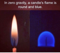 Memes, Zero, and Gravity: In zero gravity, a candle's flame is  round and blue.