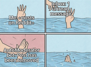 Reality Is Often disappointing: Inbox: 1  Dunread  message  Mes posts  on Reddite  AutoModerator  bots Posthas  beenremoved Reality Is Often disappointing