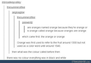 Black, Black and White, and Orange: inbroadwaywalley  thesummerofilike  aegisaglow  thesummeroflike  peewentz  are oranges named orange because they're orange or  is orange called orange because oranges are orange  which came first the orange or orange  Orange was first used to refer to the fruit around 1300 but not  used as a color word until around 1540.  then what was the colour called before then  there was no colour everything was in black and white  STRANGEBEAVER.COn