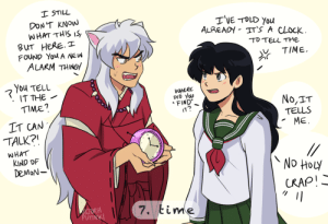 incaseyouart:  @inukag-week[final] prompt 7: Time! I was going to go with a more serious drawing related to the well or the tree or something.. but I couldn't get this image out of my head lol.This week of drawings was super fun to do! I've loved this series for 16 years and now I can finally draw the kind of fanart I wanted to draw when I was 13 haha. This series taught me how to draw, and I'll never not like drawing it~: incaseyouart:  @inukag-week[final] prompt 7: Time! I was going to go with a more serious drawing related to the well or the tree or something.. but I couldn't get this image out of my head lol.This week of drawings was super fun to do! I've loved this series for 16 years and now I can finally draw the kind of fanart I wanted to draw when I was 13 haha. This series taught me how to draw, and I'll never not like drawing it~