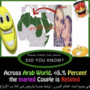 maried couple: Incest  brothre  iSist  @Saudi_Arabian_ Fact Genius  DID YOU KNOW?  Across Arab world, 45% Percent  the maried Couple is Related maried couple