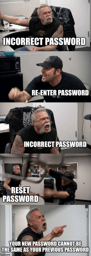 The same old vicious cycle: INCORRECT PASSWORD  RE-ENTER PASSWORD  INCORRECT PASSWORD  RESET  PASSWORD  YOUR NEW PASSWOD CANNOT BE  THE SAME AS YOUR PREVIOUS PASSWORD The same old vicious cycle