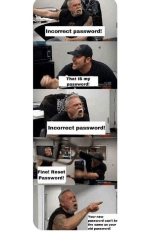 Dank, Memes, and Target: Incorrect password!  That IS my  password!  Incorrect password!  Fine! Reset  Password!  Your new  password can't be  the same as your  old password Oof by calvinjhurt MORE MEMES
