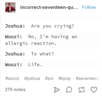 Crying, Life, and Seventeen: incorrect-seventeen-qu... Follow  Joshua: Are you crying?  WOOZİ: No, I'm having an  allergic reaction.  Joshua: To what?  Woozi: Life.  #woozi #joshua #svt #kpop #seventeen  270 notes
