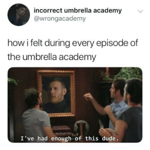 Dude, Memes, and Academy: incorrect umbrella academy  @wrongacademy  how i felt during every episode of  the umbrella academy  I've had enough of this dude. Just some Umbrella Academy memes