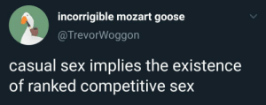 Sex, Mozart, and Goose: incorrigible mozart goose  @TrevorWoggon  casual sex implies the existence  of ranked competitive sex Me🤭irl