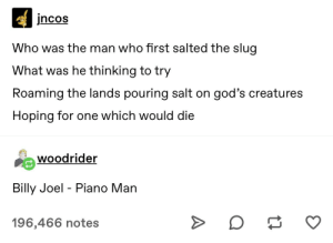 Billy Joel - Piano Man: incos  Who was the man who first salted the slug  What was he thinking to try  Roaming the lands pouring salt on god's creatures  Hoping for one which would die  woodrider  Billy Joel - Piano Man  196,466 notes Billy Joel - Piano Man