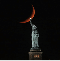 Memes, New York, and Moon: INCREDIBLE: The moon behind the Statue of Liberty in New York City. (@garyhershorn)