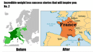 Belgium, France, and Germany: Incredible weight loss success stories that will inspire you:  No.2  Germany  Belgium  Paris Luxem  France  Switz  English Channel  North Atlantic  Ocean  Lyon  Italy  Marseille  Spain  Mediterranean Corsica  Sea  After  Before Cant wait To be slim