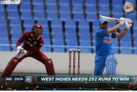 Indian Cricket Team set a target of 252 for Windies in the 3rd ODI: IND 251/4 50  WEST INDIES NEEDS 252 RUNS TO WIN Indian Cricket Team set a target of 252 for Windies in the 3rd ODI