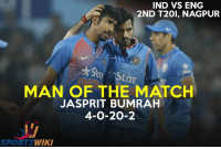 Man of the match - Jasprit Bumrah for his fantastic final over !: IND VS ENG  2ND T20, NAGPUR  MAN OF THE MATCH  Star  JASPRIT BUMRAH  4-0-20-2  SPORT WIKI Man of the match - Jasprit Bumrah for his fantastic final over !