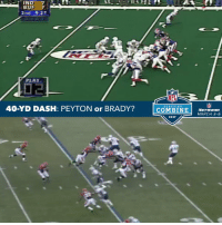 Memes, Indeed, and 🤖: INDE  BUF 7  2nd 9.27  PLAY  40-YD DASH: PEYTON or BRADY?  NFL  COMBINE  NETWORK  MARCH 3-6  2017 Peyton vs. Brady. Who wins in a 40-yd dash?
