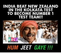 Number 1: INDIA BEAT NEW ZEALAND  IN THE KOLKATA TEST  TO BECOME NUMBER 1  TEST TEAM!!  RV CJ  WWW. RVCJ.COM  HUM  JEET  GAYE