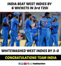 Congratulations #TeamIndia 🇮🇳 #IndVWI: INDIA BEAT WEST INDIES BY  6 WICKETS IN 3rd T20i  KRUNALL  04  LAUGHING  WHITEWASHED WEST INDIES BY 3-0  CONGRATULATIONS TEAM INDIA  參/laughingcolours Congratulations #TeamIndia 🇮🇳 #IndVWI