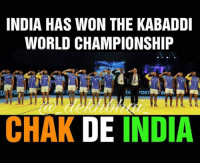 Amaz, Indeed, and India: INDIA HAS WON THE KABADDI  WORLD CHAMPIONSHIP  TA DOR  CHAK DE INDIA Proud Moment World Champions 🇮🇳🇮🇳🇮🇳🇮🇳 What a Match that was 😍🙌🏻 Ajay Thakur was indeed man of the moment 👌🏻 Amazing comeback after 1st half 🎆🎇