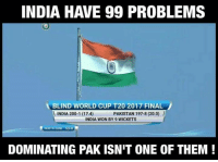 Congratulations😊: INDIA HAVE 99 PROBLEMS  BLIND WORLD CUP T20 2017 FINAL  PAKISTAN 197-8 (20.0  INDIA 200-1 (17.4)  INDIA WON BY 9 WICKETS  NORTH ZONE 53.0 R  DOMINATING PAK ISNIT ONE OF THEM Congratulations😊