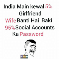 Memes, 🤖, and Baki: India Main kewal 5%  Girlfriend  Wife  Banti Hai Baki  Social Accounts  95%  Ka Password  S C H  SAH CHUTIYIPM HA