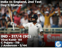 Skipper Virat Kohli and Cheteshwar Pujara put India in a strong position at stumps on Day-1.: India vs England, 2nd Test  Day 1: Stumps  Star  IND 317/4 (90)  Virat Kohli 151  C Pujara 119  J Anderson 3/44 Skipper Virat Kohli and Cheteshwar Pujara put India in a strong position at stumps on Day-1.