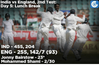 England, Memes, and India: India vs England, 2nd Test:  Day 5: Lunch Break  IND 455, 204  ENG 255, 142/7 (93)  Jonny Bairstow 23  Mohammed Shami 2/30 India just 3 wickets away from taking a 1-0 lead in the Test series.