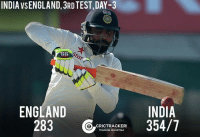 Ravindra Jadeja's unbeaten 70 and Jayant Yadav's 26 help India to post a lead of 71 runs with 3 wickets remaining at Lunch.: INDIA VSENGLAND, 3RD TEST, DAY-3  ENGLAND  INDIA  283  CRICTTRACKERS  354/7  TRACKING CRICKET24x7 Ravindra Jadeja's unbeaten 70 and Jayant Yadav's 26 help India to post a lead of 71 runs with 3 wickets remaining at Lunch.