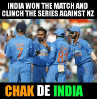 Memes, India, and Match: INDIA WON THE MATCH AND  CLINCH THE SERIESAGAINST NZ  Plus  plus  CHAK DE  INDIA