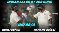 Memes, India, and Indian: INDIAN LEADS BY 298 RUNS  Cricket  Shots  IND 98V3  KOHLI 561701  RAHANE 221541 End of day's play! India 98/3 . Leads by 298 runs