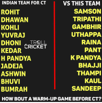 Which team will win?: INDIAN TEAM FOR CT  VS THIS TEAM  SAMSON  ROHIT  TRIPATHI  DHAWAN  KOHLI  GAMBHIR  UTHAPPA  YUVRAJ  RAINA  DHONl CRICKET  PANT  KEDAR  K PANDYA  H PANDYA  BHAJJI  JADEJA  ASHWIN  THAMPI  KAUL  BHUVI  SANDEEP  BUMRAH  HOW BOUT A WARM-UP GAME BEFORE CT? Which team will win?