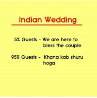 😂: Indian Wedding  5% Guests We are here to  bless the couple  95% Guests  Khana kab shuru  hoga 😂