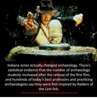 Memes, Indiana Jones, and Raiders: Indiana Jones actually changed archaeology. There's  statistical evidence that the number of archaeology  students increased after the release of the first film  and hundreds of today's best professors and practicing  archaeologists say they were first inspired by Raiders of  the Lost Ark.