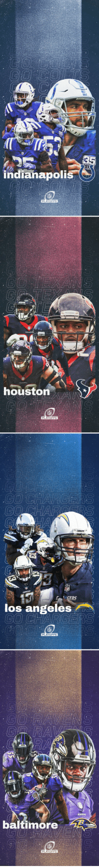 Indianapolis Colts, Memes, and Nfl: indianapolis  PLAYOFFS   TEXANS  oustonA  PLAYOFFS   los angeles  NFL  PLAYOFFS   RAVENS  RAVENS  baltimore  PLAYOFFS #NFLPlayoffs Wallpapers!  #Colts #Texans #FightForEachOther #RavensFlock https://t.co/LZDTEGqN93