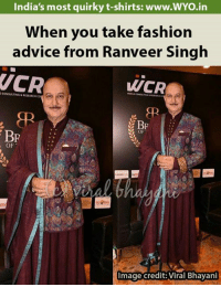 ranveer singh: India's most quirky t-shirts: www.WYo.in  When you take fashion  advice from Ranveer Singh  VCR  WCR  BP  BP  OF  OF  Image credit: Viral Bhayani