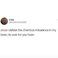 Hoes, Brain, and Once: indie  @INDIEWASHERE  once i defeat the chemical imbalance in my  brain, its over for you hoes