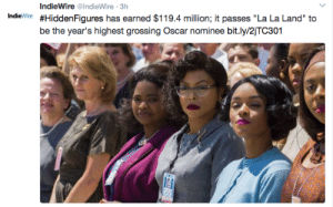 """diversemovies: I'm crying in the street: IndieWire @IndieWire 3h  Indie Wire #HiddenFigures has earned $119.4 million; it passes """"La La Land"""" to  be the year's highest grossing Oscar nominee bit.ly/2jTC301 diversemovies: I'm crying in the street"""